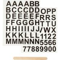 Siirtotarra, Kirjaimet ja numerot, Kork. 17 mm, 12,2x15,3 cm, musta, 1 pkk