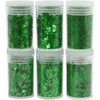 Kimalteet ja paljetit, vihreä, 6x5 g/ 1 pkk