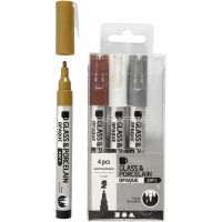 Lasi- ja posliinitussi, paksuus 1-2 mm, läpikuultavat, ruskea, kulta, hopea, valkoinen, 4 kpl/ 1 pkk