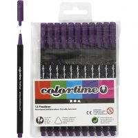 Colortime Fineliner, paksuus 0,6-0,7 mm, violetti, 12 kpl/ 1 pkk
