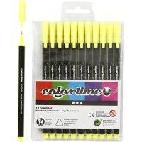 Colortime Fineliner, paksuus 0,6-0,7 mm, keltainen, 12 kpl/ 1 pkk
