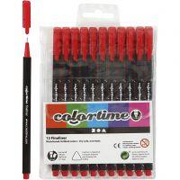 Colortime Fineliner, paksuus 0,6-0,7 mm, punainen, 12 kpl/ 1 pkk