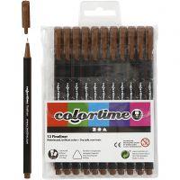 Colortime Fineliner, paksuus 0,6-0,7 mm, ruskea, 12 kpl/ 1 pkk