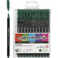 Colortime Fineliner, paksuus 0,6-0,7 mm, tummanvihreä, 12 kpl/ 1 pkk