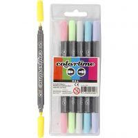 Colortime tussit, paksuus 2,3+3,6 mm, pastellivärit, 6 kpl/ 1 pkk