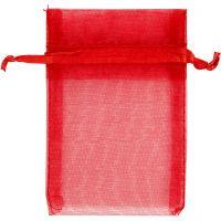 Organzapussit, koko 7x10 cm, punainen, 10 kpl/ 1 pkk