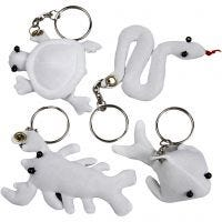 Kangashahmot ja avainrengas, koko 4-8 cm, valkoinen, 4 kpl/ 1 pkk