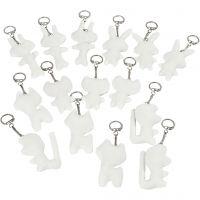 Kangashahmot ja avainrengas, koko 6-10 cm, valkoinen, 15 kpl/ 1 pkk