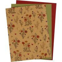 Nahkapaperi, 21x27,5+21x28,5+21x29,5 cm, paksuus 0,55 mm, yksi värillinen,tulosta, luonnonrusk., vihreä, punainen, 3 ark/ 1 pkk