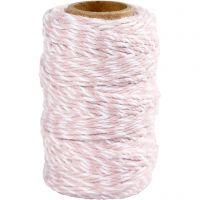 Puuvillanyöri, paksuus 1,1 mm, valkoinen/vaaleanpunainen, 50 m/ 1 rll