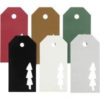 Pakettietiketit, joulupuu, koko 5x10 cm, Lajitelman sisältö voi vaihdella , 300 g, 6x15 kpl/ 1 pkk