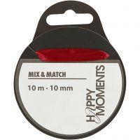 Satiininauha, Lev: 10 mm, viininpunainen, 10 m/ 1 rll
