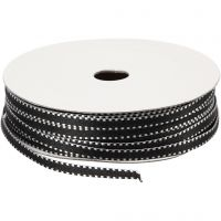 Koristenauha, Lev: 4 mm, musta/valkoinen, 20 m/ 1 pkk