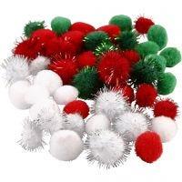 Pompomit, halk. 15+20 mm, vihreä, punainen, valkoinen, 48 laj/ 1 pkk