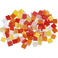 Minimosaiikit, koko 5x5 mm, oranssi/pun. sävyt, 25 g/ 1 pkk