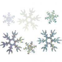 Paljetit, halk. 25+45 mm, vaaleansininen, hopea, valkoinen, 30 g/ 1 pkk