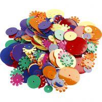 Paljetit, pyöreät, koko 10-25 mm, värilajitelma, 35 g/ 1 pkk