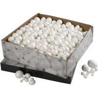 Pallot ja munat, koko 1,5-6,1 cm, valkoinen, 550 kpl/ 1 pkk