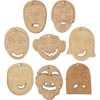 Ripustettavat naamiot, koko 5,5-7 cm, paksuus 4 mm, 24 kpl/ 1 pkk