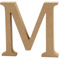 MDF-kirjain, M, Kork. 13 cm, paksuus 2 cm, 1 kpl