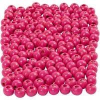 Puuhelmet, halk. 5 mm, aukon koko 1,5 mm, pinkki, 6 g/ 1 pkk, 150 kpl