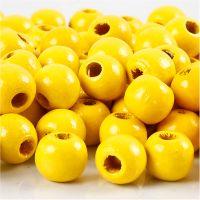 Puuhelmet, halk. 12 mm, aukon koko 3 mm, keltainen, 22 g/ 1 pkk