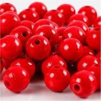 Puuhelmet, halk. 12 mm, aukon koko 3 mm, punainen, 22 g/ 1 pkk