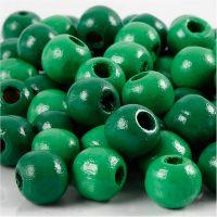Puuhelmet, halk. 12 mm, aukon koko 3 mm, vihreä, 22 g/ 1 pkk