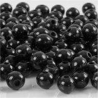 Puuhelmet, halk. 8 mm, aukon koko 2 mm, musta, 15 g/ 1 pkk, 80 kpl