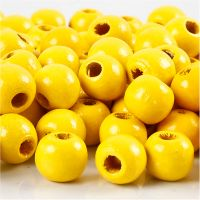 Puuhelmet, halk. 10 mm, aukon koko 3 mm, keltainen, 20 g/ 1 pkk