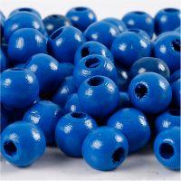 Puuhelmet, halk. 10 mm, aukon koko 3 mm, sininen, 20 g/ 1 pkk