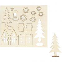 Koottavat puukuviot, talo, puu, kauris, Pit. 15,5 cm, Lev: 17 cm, 1 pkk