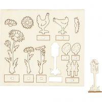 Koottavat puukuviot, Pit. 15,5 cm, Lev: 17 cm, 1 pkk
