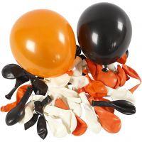 Ilmapallot, pyöreät, halk. 23-26 cm, musta, oranssi, valkoinen, 100 kpl/ 1 pkk