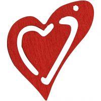 Puinen sydän, koko 25x22 mm, punainen, 20 kpl/ 1 pkk