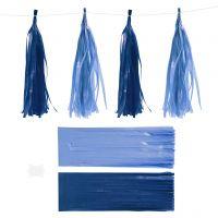 Paperitasselit, koko 12x35 cm, 14 g, tummansininen/vaaleansininen, 12 kpl/ 1 pkk
