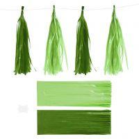 Paperitasselit, koko 12x35 cm, 14 g, tummanvihreä/limenvihreä, 12 kpl/ 1 pkk