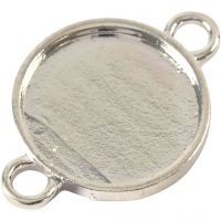 Cabochon-linkki, halk. 15 mm, aukon koko 2,5 mm, hopeanväriset, 25 kpl/ 1 pkk