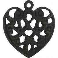 Sydän, koko 13x14 mm, aukon koko 1 mm, musta, 4 kpl/ 1 pkk