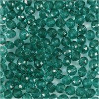 Fasettihiotut lasihelmet, halk. 4 mm, aukon koko 1 mm, vihreä, 45 kpl/ 1 lanka