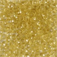 Fasettihiotut lasihelmet, halk. 4 mm, aukon koko 1 mm, keltainen, 45 kpl/ 1 lanka