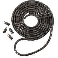 Käärmeketju, halk. 3,1 mm, tummanharmaa metallic, 1 m