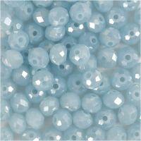 Fasettihiotut lasihelmet, koko 5x6 mm, aukon koko 1 mm, merensininen, 100 kpl/ 1 pkk