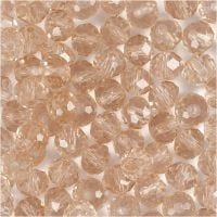 Fasettihiotut lasihelmet, koko 5x6 mm, aukon koko 1 mm, rosa, 100 kpl/ 1 pkk