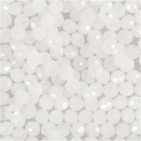 Fasettihiotut lasihelmet, koko 3x4 mm, aukon koko 0,8 mm, huurrettu, 100 kpl/ 1 pkk