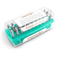 Pakotusleimasin (punsseli), isot kirjaimet ja merkit, koko 3 mm, Fontti: Juniper  , 33 kpl/ 1 set
