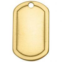 Metallilaatta, uurrettu tuntolevy, koko 32x20 mm, aukon koko 2,85 mm, paksuus 1 mm, messinki, 4 kpl/ 1 pkk