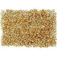 Rocaille-siemenhelmet, halk. 1,7 mm, koko 15/0 , aukon koko 0,5-0,8 mm, messinki, 500 g/ 1 pss