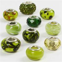 Lasirondellit, halk. 13-15 mm, aukon koko 4,5-5 mm, glitter vihreä, 10 laj/ 1 pkk