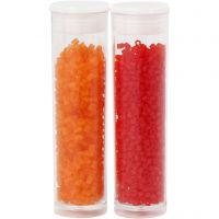 Siemenhelmet, Putki, halk. 1,7 mm, koko 15/0 , aukon koko 0,5 mm, kuulto oranssi, kuulto punainen, 2x7 g/ 1 pkk